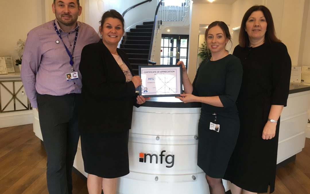 MFG SOLICITORS HONOURED FOR SECURING VITAL FUNDS FOR CANCER RESEARCH UK