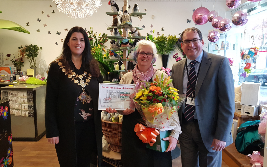 Hereford Mayor helps judge Best Christmas Shop Window 2019