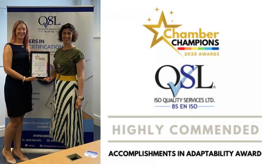 ISO Quality Services Limited Highly Commended at Chamber Champions Awards ceremony